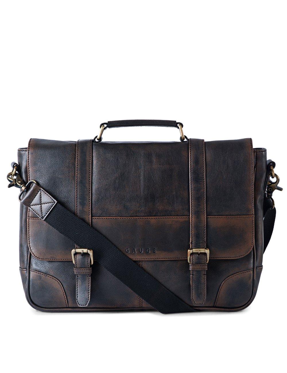 Gauge 15 Inch Washed Leather Laptop Messenger Bag Office Briefcase College Bag Satchel for Men (Black)