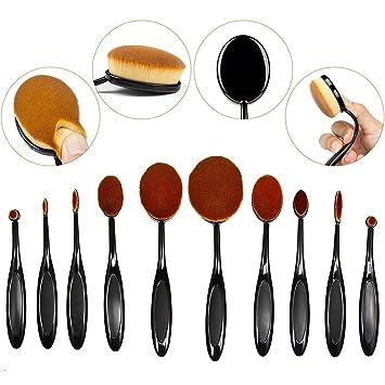 0a5419d27e72 Amazon.com: BeautyCoco Oval Makeup Brush Set Professional Foundation ...