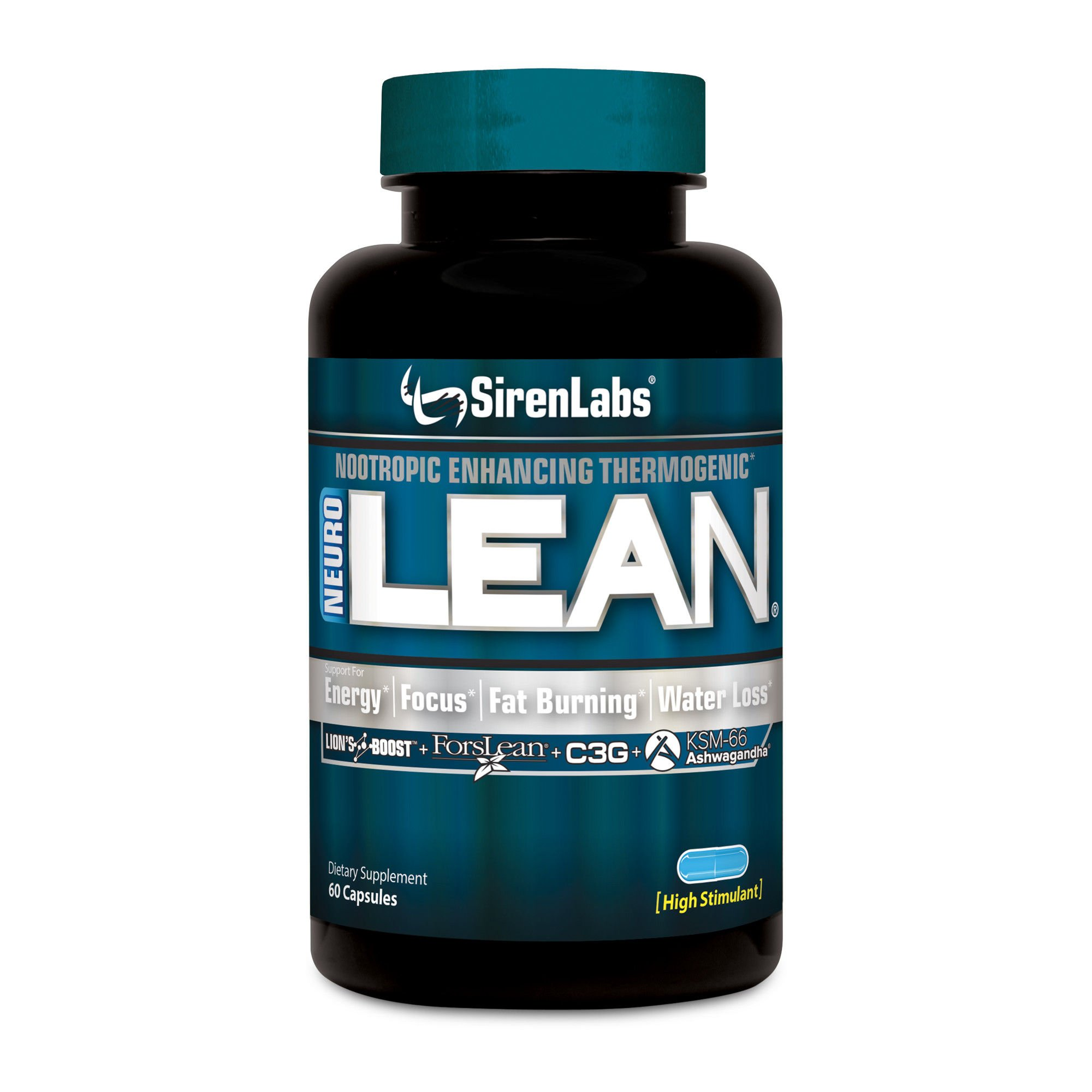 Siren Labs Neuro Lean - Concentrated Nootropic Enhancing Thermogenic for Health, Water Loss, Increase Fat Burning, Supercharge Energy and Mental Focus - Dietary Supplement - 60 Capsules
