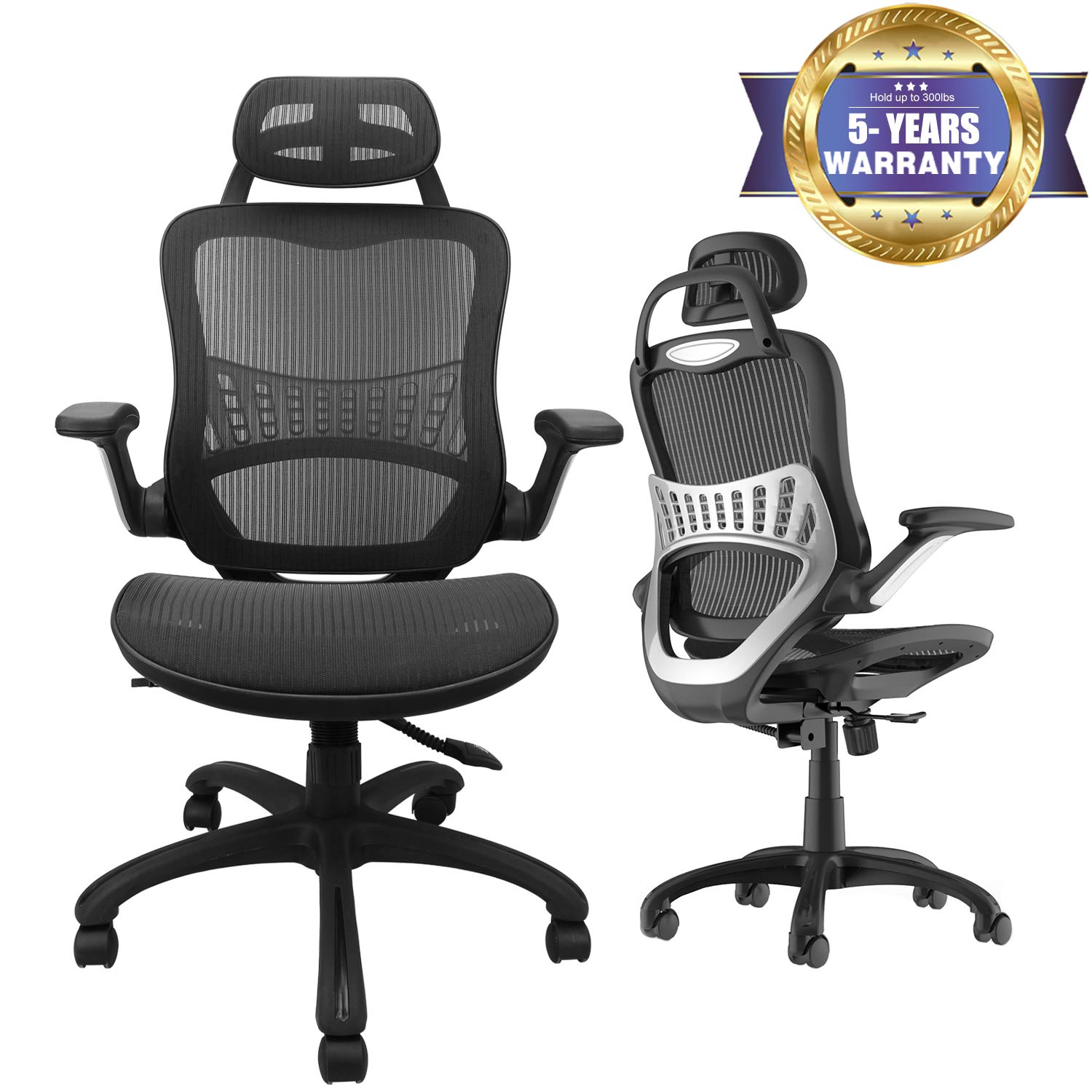 High Back Ergonomic Adjustable Office Chair with Breathable Mesh, Weight Capacity Over 300Ibs Passed BIFMA, Adjustable Headrest, Backrest and Flip-up Armrests, Computer Chair, Executive Swivel Chair by Ergousit