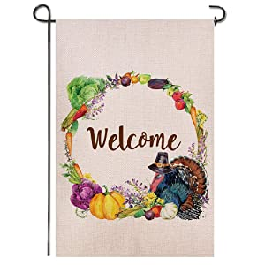 Shmbada Welcome Thanksgiving Day Burlap Garden Flag Double Sided Vertical Wreath Yard Lawn Outdoor Turkey Pumpkin Fruits Harvest Decorative for Fall and Thanksgiving Day 12.5x18.5 inch