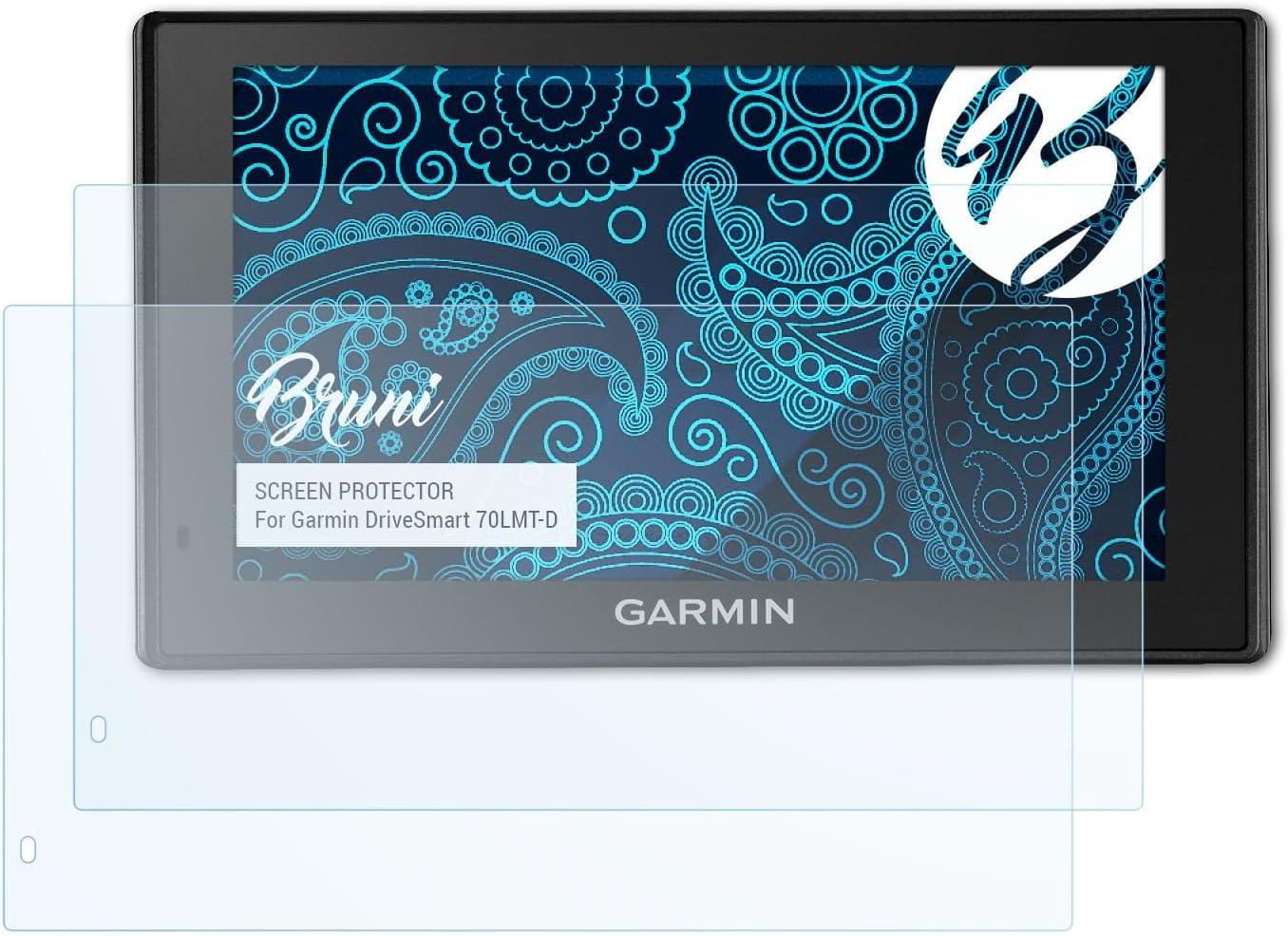 Bruni Película Protectora Compatible con Garmin DriveSmart 70LMT-D Protector Película, Claro Lámina Protectora (2X)