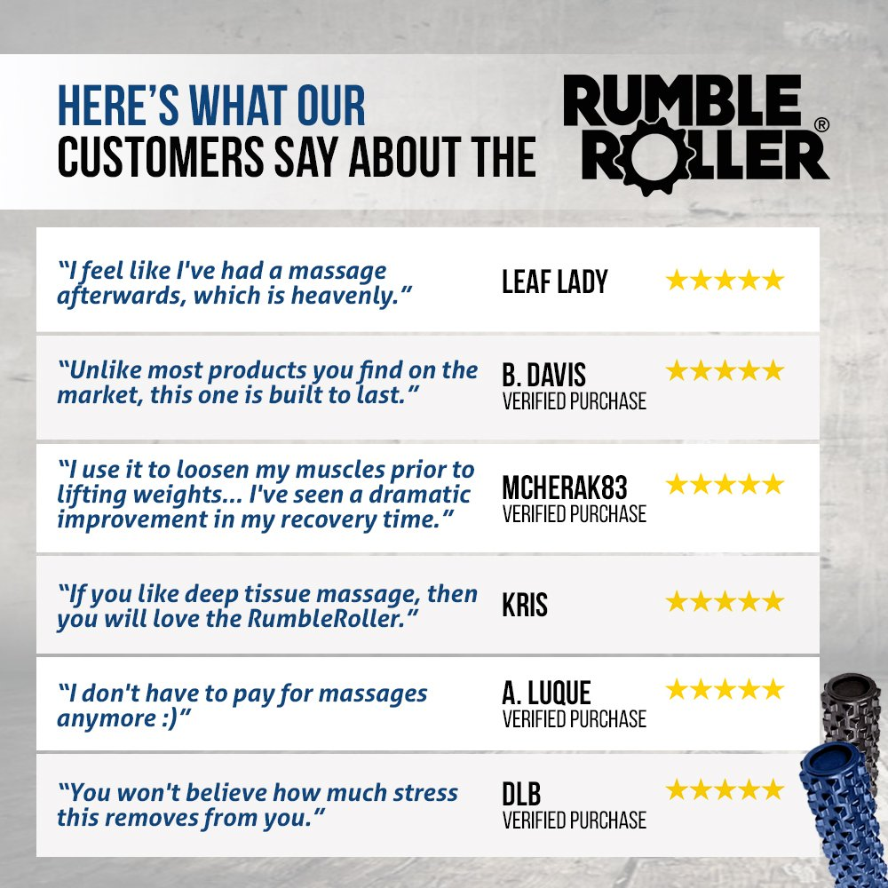 RumbleRoller Deep-Tissue Massage Roller, Black, 13-Inch