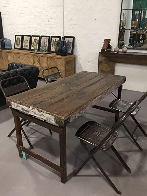 Stuff Loft Vintage Mesa de comedor de madera maciza encerada ...