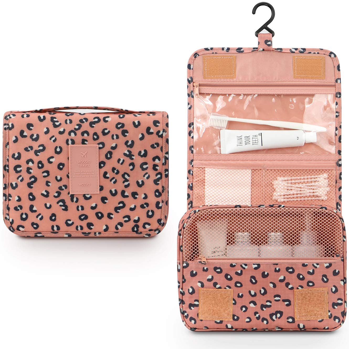 Toiletry Bag for Women,Mossio Waterproof Big Makeup Case with Large Compartment Pink Leopard by Mossio