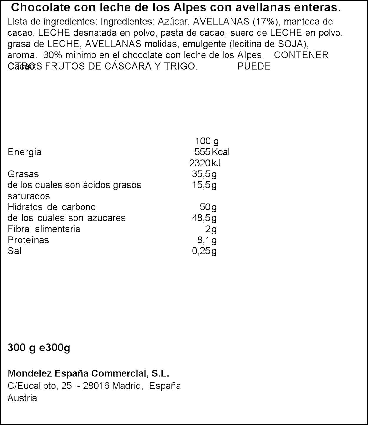 Milka tableta de chocolate leche con frutos secos enteros(e300g)
