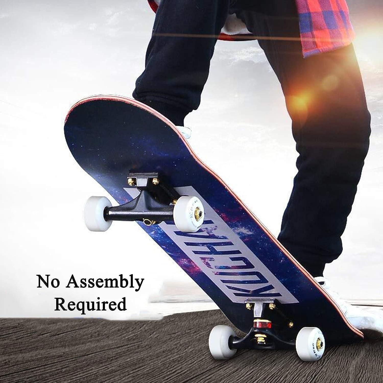 Komplettboard Ahornholz Holzboard mit Kugellager Longboard f/ür Kinder Skateboard 80 x 20 cm 3 Farben w/ählbar Jugendliche und Erwachsene