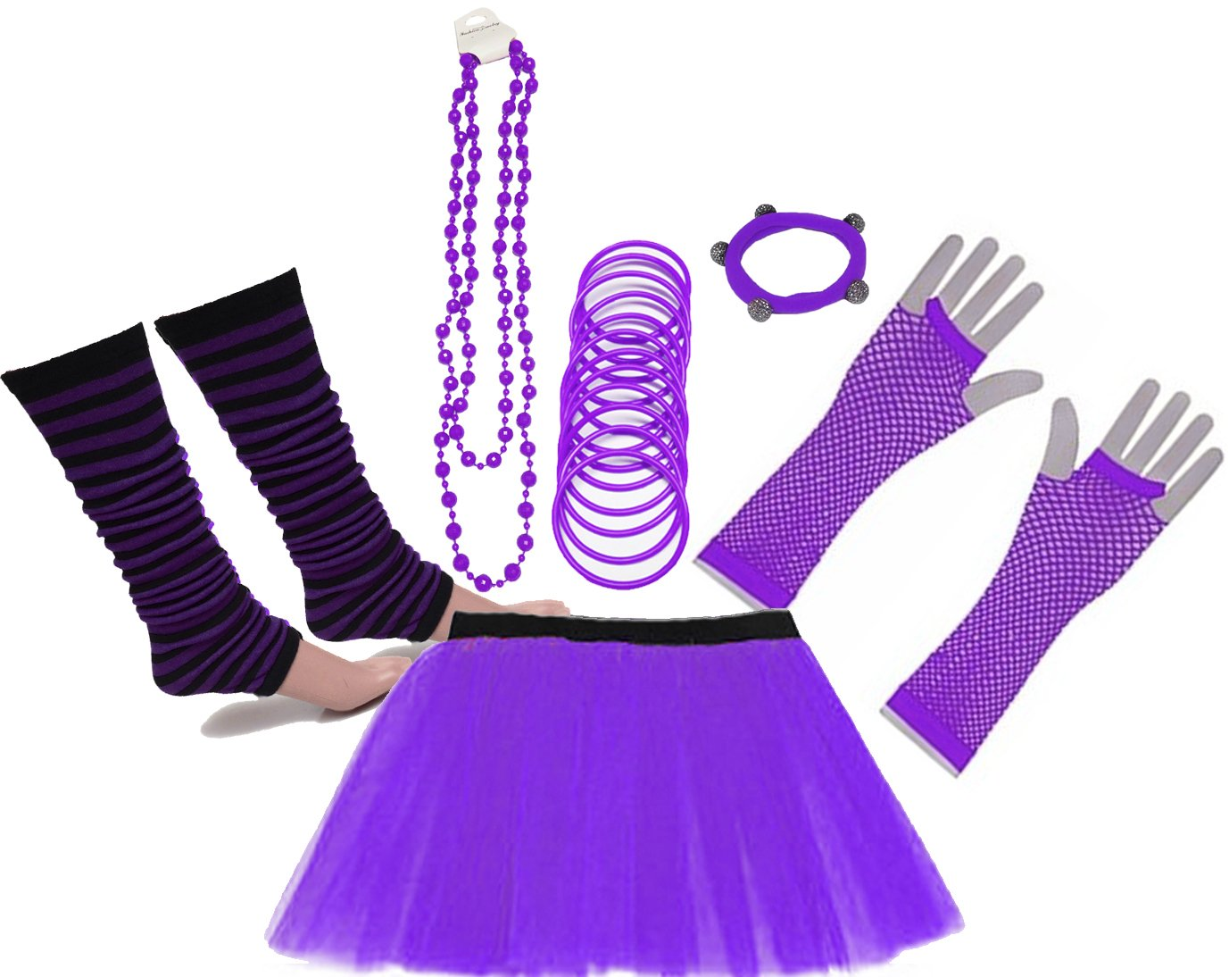 Neon Tutu Skirt Legwarmer Gummies Beads Hen Fancy Dress Party Costumes Set - 10 Colours - Sizes 8 to 22
