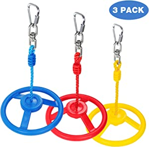 Ninja Wheel Obstacle for Kids - Jungle Gyms Monkey Wheel for Ninja Warrior Obstacle Course Ninja Line Slacking Line - 3pc of Blue, Red&Yellow Color Swing Wheel in Set