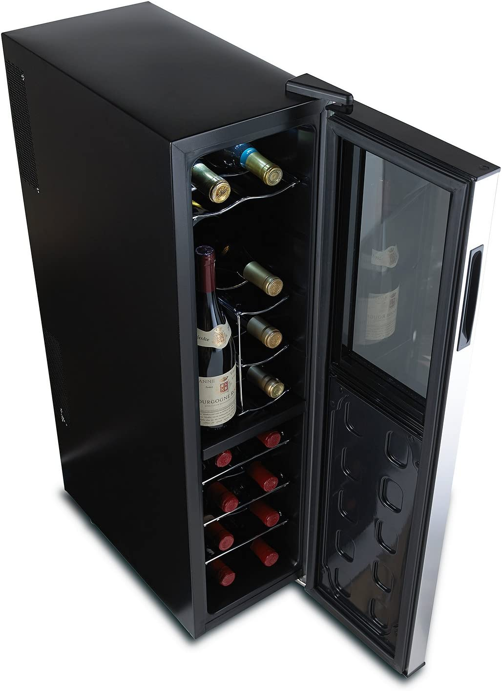 Wine Enthusiast Silent 18 Bottle Wine Refrigerator – Freestanding Slimline Upright Bottle Storage Wine Cooler, Black