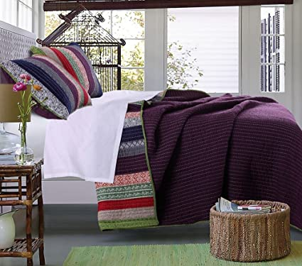 Desconocido 2pc francés país Tejido rayas tema juego de edredón, ropa de cama de rayas