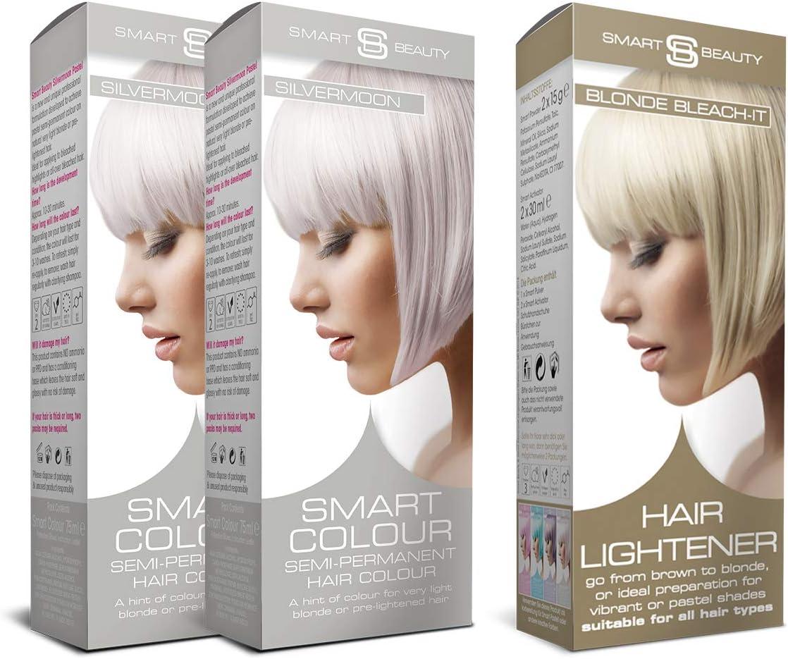 Smart Pastel Bleach-It y Plata Luna Tinte Cabello
