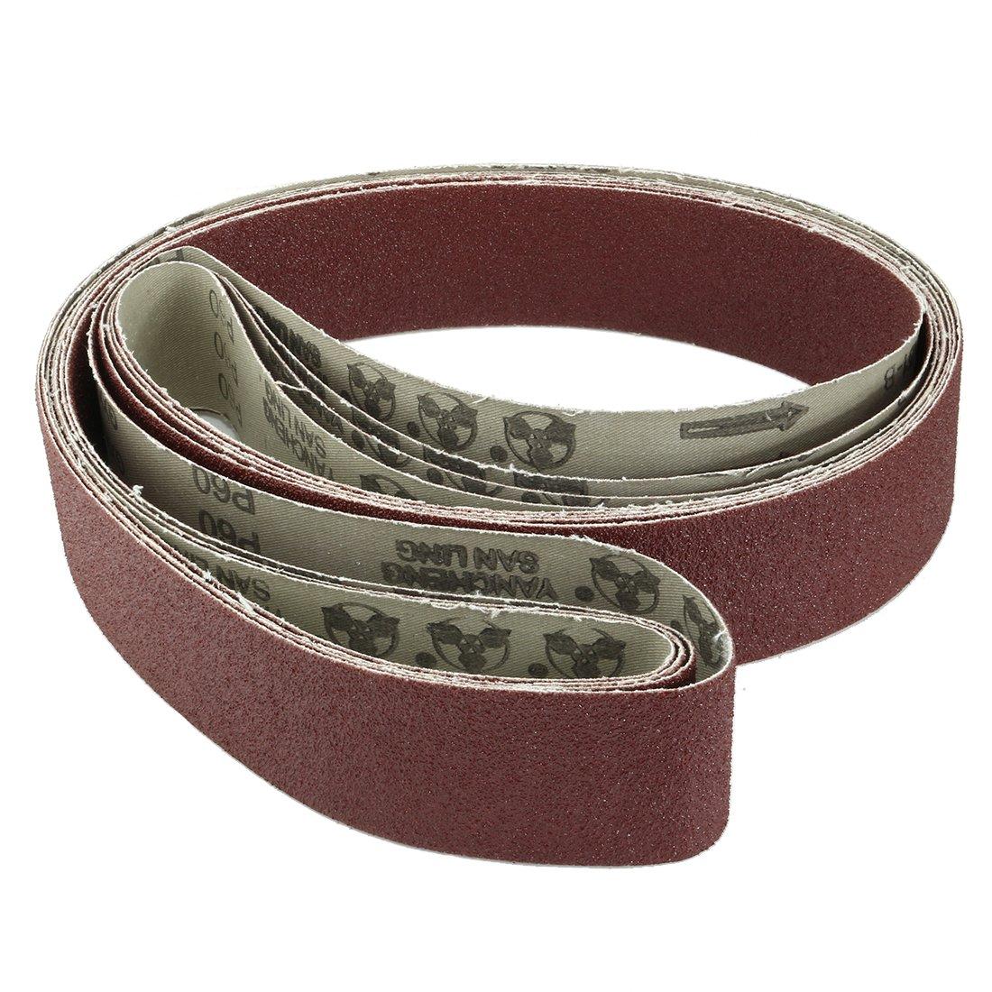 uxcell 2-Inch x 72-Inch 60 Grit Lapped Joint Aluminum Oxide Sanding Belt 4pcs