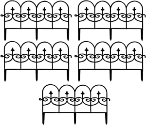 Decorative Garden Fence, Black Iron Fence Edge Metal Wire Fence, Outdoor Decorative Garden Fence, Metal, for Patio, Flowers, Bed, Dogs, Barrier, Border on Edging Section (5Pcs)