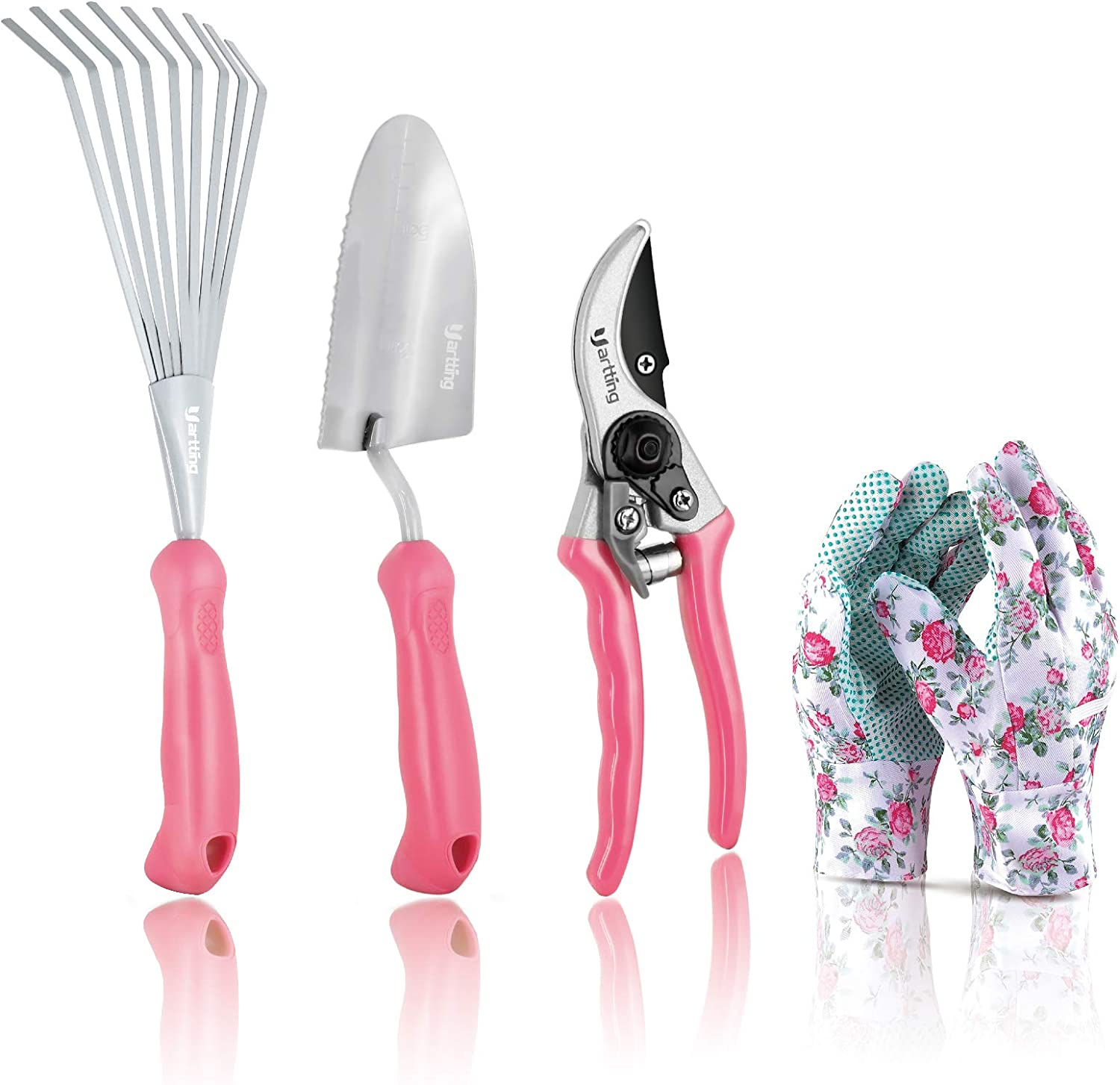 Yartting Garden Tool Set, 4 Piece Durable Gardening Kit, Pruning,Trowel, Hand Rake with Soft Rubberized Non-Slip Ergonomic Handle, Great as a Gift Box (Pink)