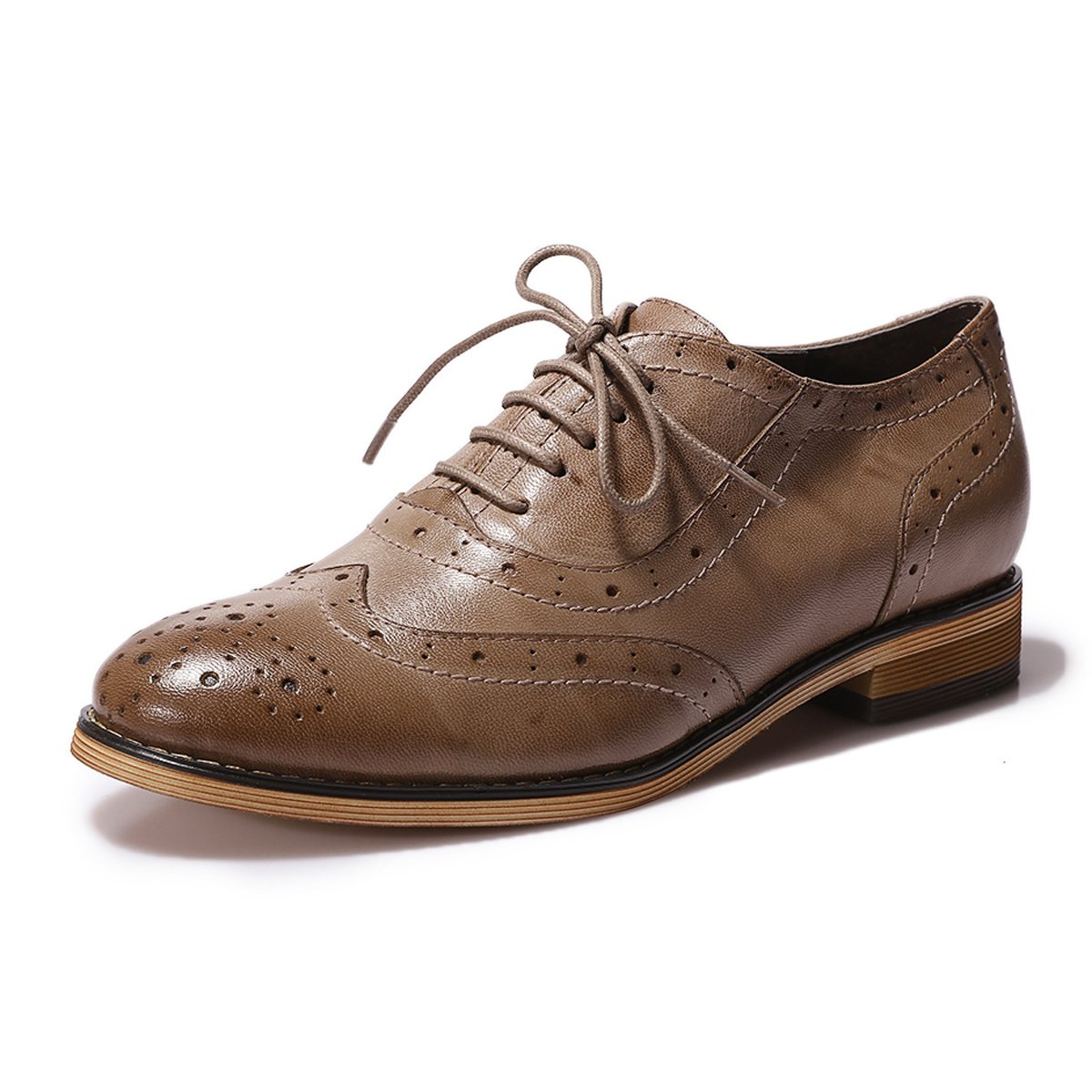 Mona Flying Womens Leather Flat Oxfords Shoes For Women Perforated Lace-up Wingtip Vintage Brogues Shoes,10 B(M) US,Coffee