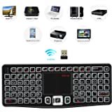 (2018 Backlit Version)REIIE K03 Mini Qwerty Keyboard Adjustable DPI Touchpad for PC, HTPC, Apple, Xbox360, Wii, PS3, Black
