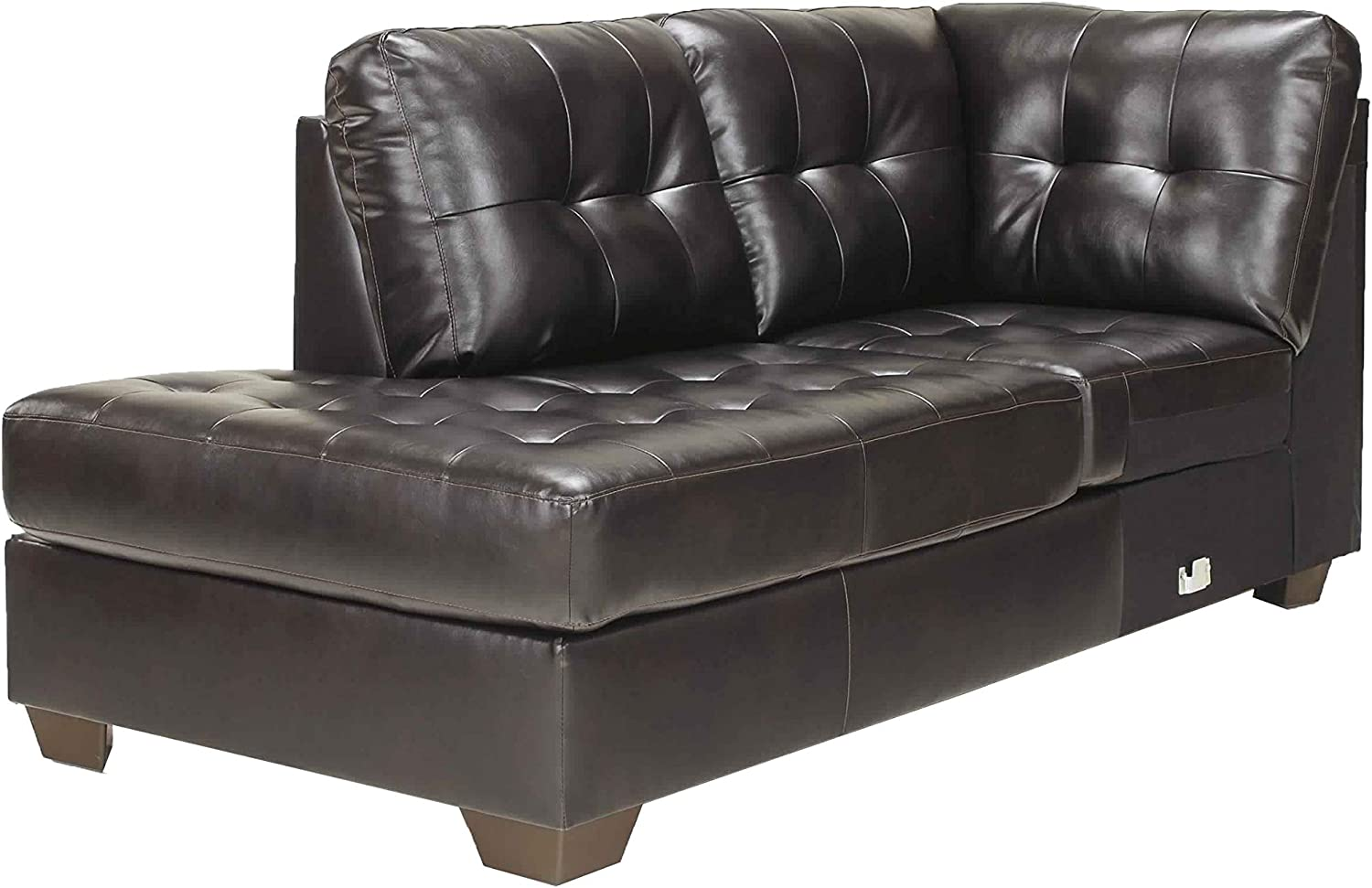 Amazon.com: Benjara Left Arm Facing Leather Upholstered Chaise