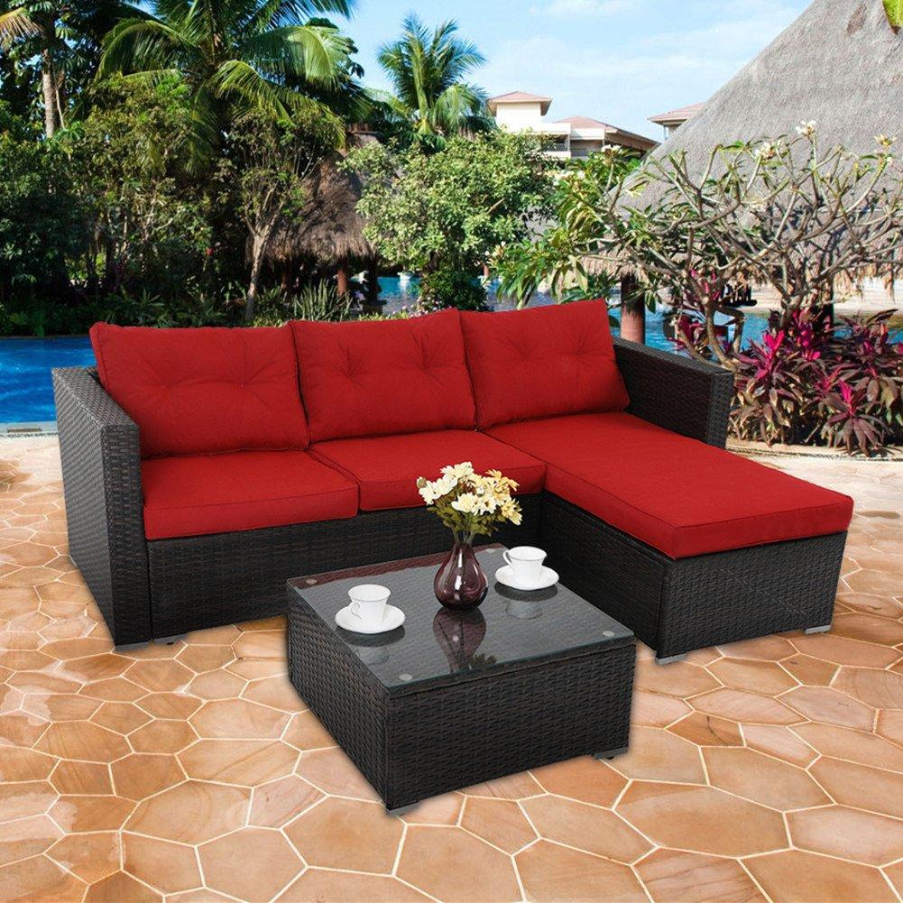 PHI VILLA 3-Piece Outdoor Rattan Sectional Sofa- Patio Wicker Furniture Set, Red