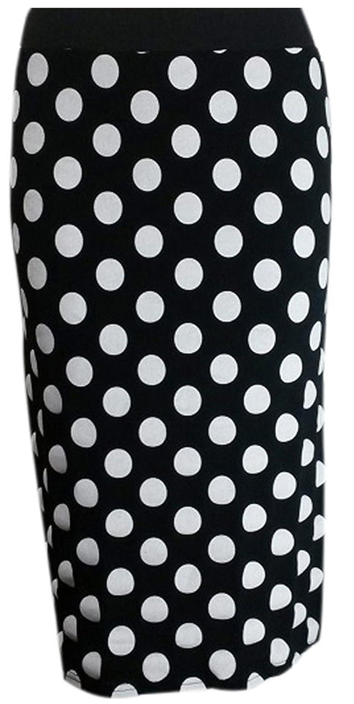 Glossy Look Ladies Polka Dot Tartan Skulls Stretchy Bodycon Pencil Skirt