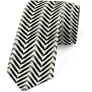 Corbata para hombre, flechas, pincelada, corbata, negro y crema ...