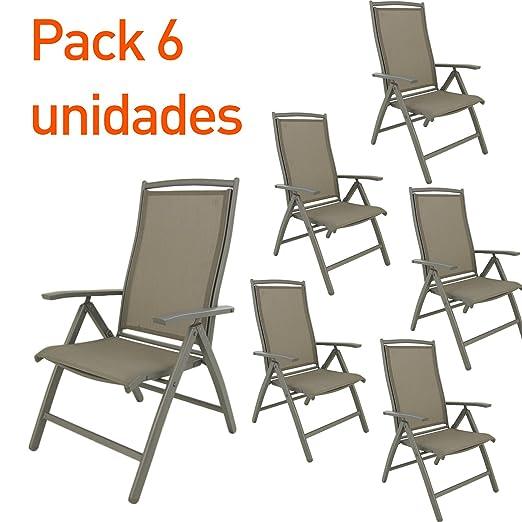 Edenjardi Pack 6 sillones de Exterior de Aluminio Reforzado ...