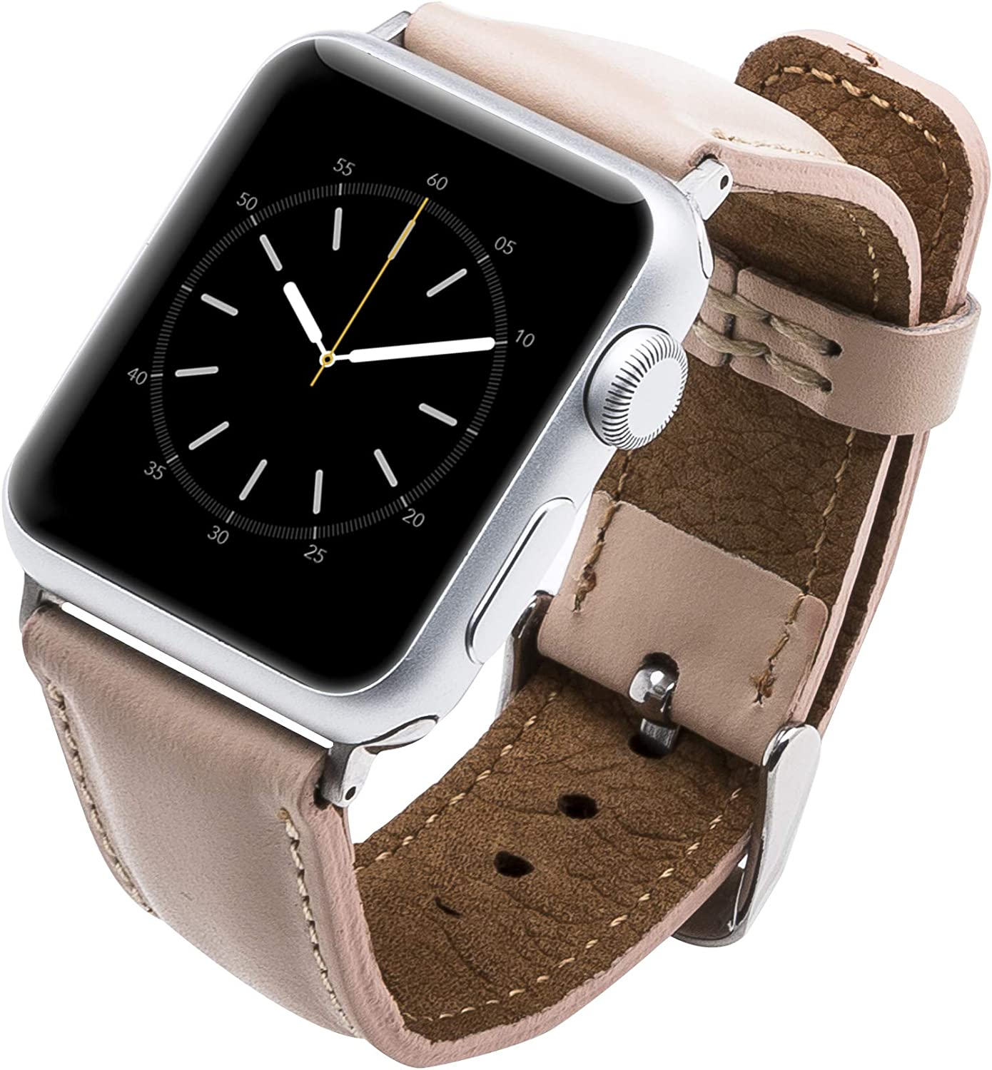 Venito Tuscany Leather Watch Band Compatible with Apple Watch 42mm 44mm - Watch Strap Designed for iwatch Series 1 2 3 4 5 6 (Nude Pink w/Silver Color Connector Clasp)