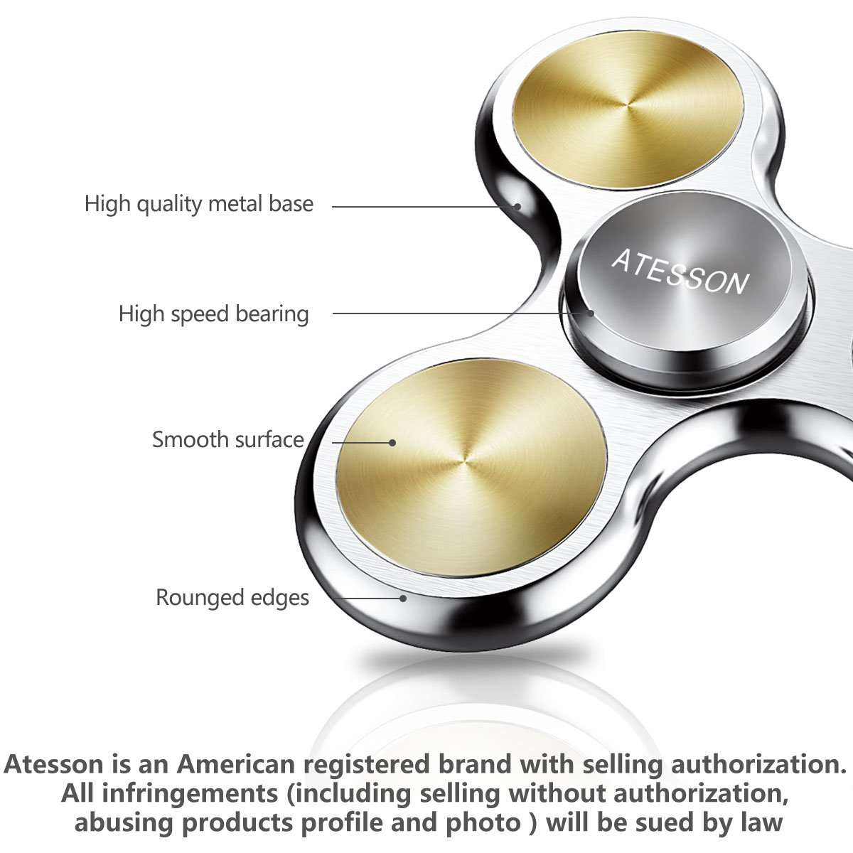 ATESSON Fidget Spinner Toy 4-10 Min Spins Ultra Durable Stainless Steel Bearing High Speed Precision Metal Material Hand Spinner Focus Anxiety Stress Relief Boredom Killing Time Toys - Silver by ATESSON (Image #2)