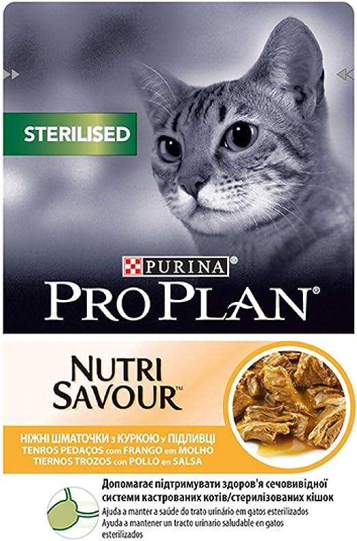 Purina ProPlan Comida para Gatos Esterilizados en Salsa Gato Adulto Pollo 24 x 85 g: Amazon.es: Productos para mascotas