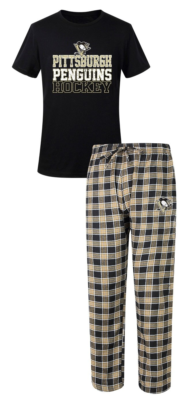 Pittsburgh Penguins NHL Medalist Men's T-shirt & Flannel Pajama Pants Sleep Set Concept Sports