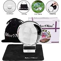 MerryNine Art Decor K9 Crystal Prop - Pelota de Vidrio Transparente con Soporte y Bola, para fotografía