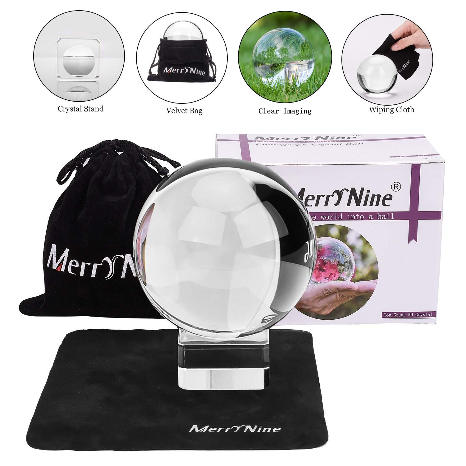 Photograph Crystal Ball with Stand and Pouch, K9 Crystal Suncatchers Ball with Microfiber Pouch, Decorative and Photography Accessory (80mm/3.15'' Set, K9 Clear) by MerryNine