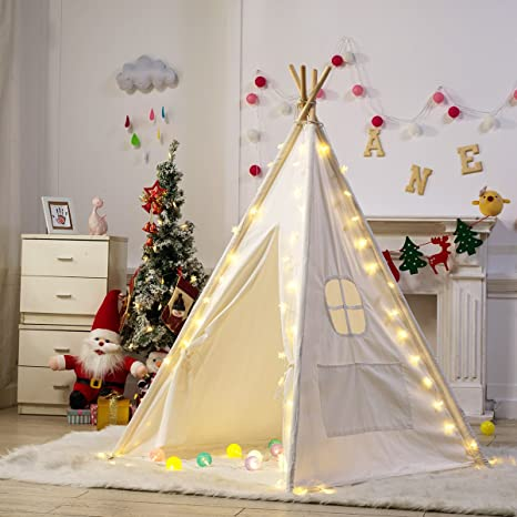 7d763785d Amazon.com: Dako Living Kids Teepee White, 100% Natural Cotton Canvas Teepee  Tent for Kids, Comes with Carrying Bag and Floor Mat: Toys & Games