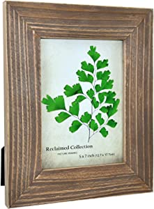 Spiretro 5 x 7 inch Grained Reclaimed Wooden Picture Frame, Wide Natural Molding with Real Glass, Vertically and Horizontally Display for Tabletop or Wall Mounting Photo Frame, Rustic Classic Gray
