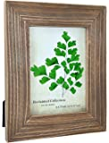 Spiretro 5 x 7 inch Grained Reclaimed Wooden Picture Frame, Wide Natural Molding with Real Glass, Vertically and…