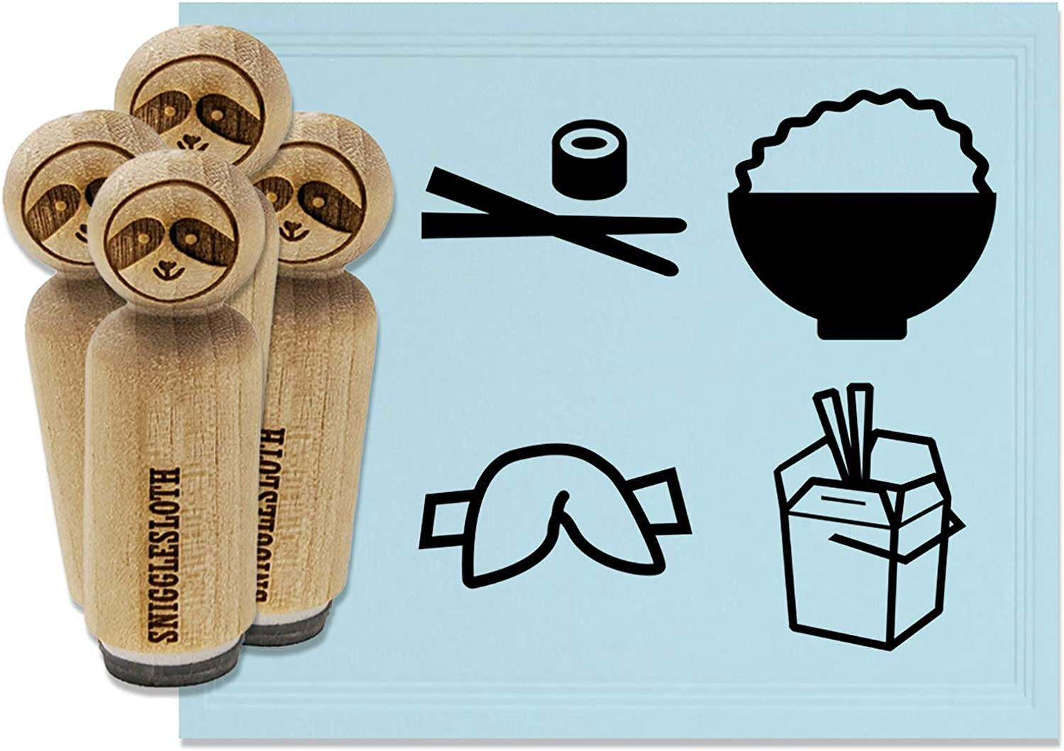 Chinese Food Take Out Takeout Box Delivery Chopsticks Rice Fortune Cookie Rubber Stamp Set for Stamping Crafting Planners - 1-1/4 Inch Large