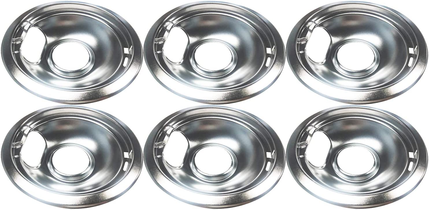 Ladysdress 6 Pack GE//Hotpoint Electric Range Chrome Reflector Bowls With Locking Slot,Chrome Drip Pan Set Repalcement for Frigidaire Tappan Stove Burner Covers 8 Drip Pan D