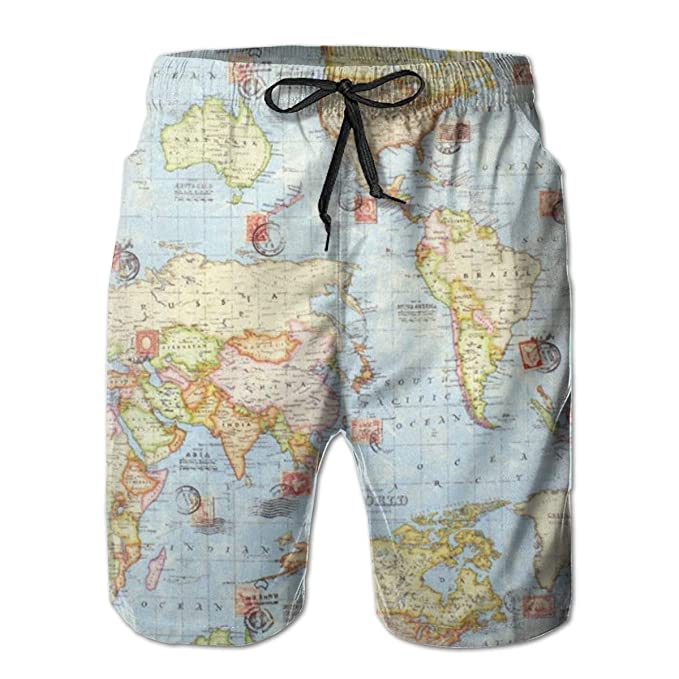 Mens World Color Map Beach Shorts Surf Board Breathable Swim Trunks