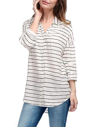 f5abe537632de1 Allegra K Women s High Low Hem Drop-Shoulder Single Breasted Stripes ...