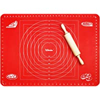 Webake Extra Large Silicone Baking Mat, Non Stick Pastry Mat for Rolling Dough With Measurements, Fondant Pie Crust Mat, Non Slip Countertop Protector (28 X 20 inch, Green)