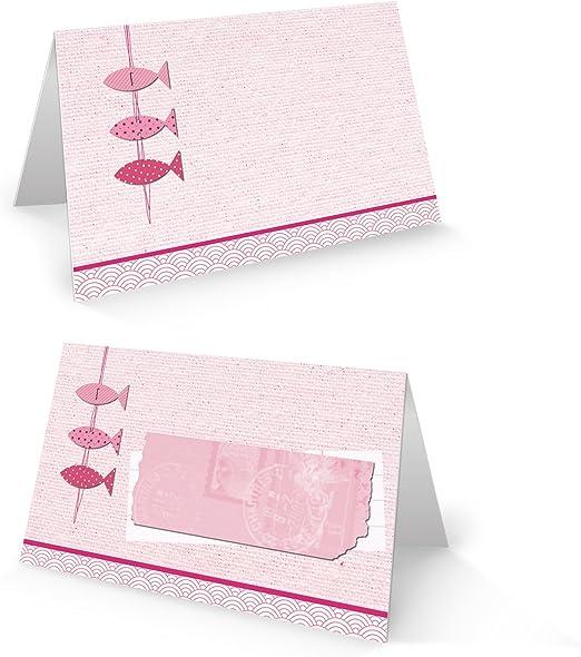 itenga 24x Tischkarte Platzkarte Kommunion Taufe Konfirmation altrosa Mädchen