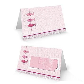 50 Stück 3 Kleine Rosa Pink Rose Rot Farbene Fische Tischkarten Namensschilder Platzkarten Zur Taufe Kommunion Geburtstag Mädchen Namenskärtchen Mit