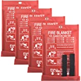 4 Pack Fire Blanket Fire Suppression Blanket, Emergency Fire Safe Blanket Fire Safety Blanket for Kitchen, Car and…