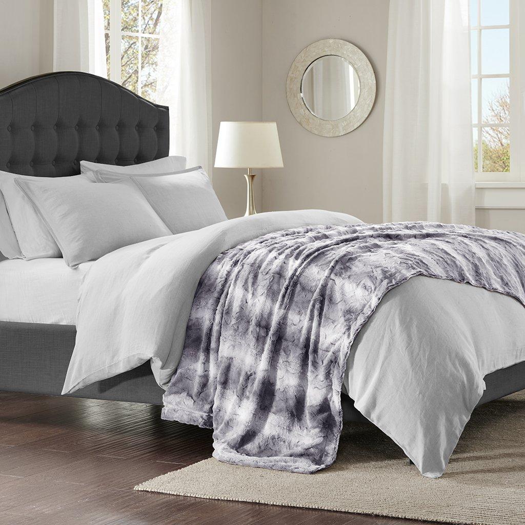 Faux fur throw bed throw gray grey neutral faux fur blanket