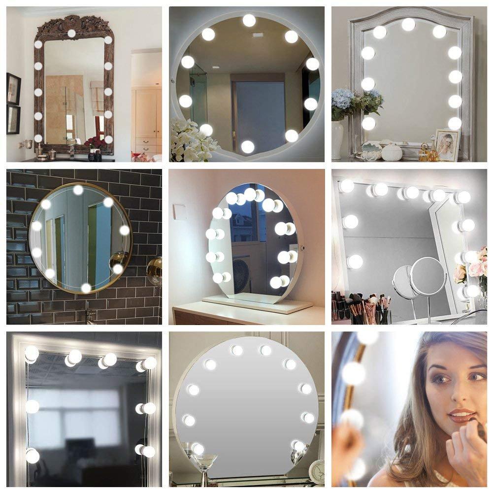 Kit Luci per Specchio 10 lampadine a LED Kit Luci Da Specchio Vanity in Stile Hollywood per Tavolo da Truccocon Interruttore e Adattatore EU