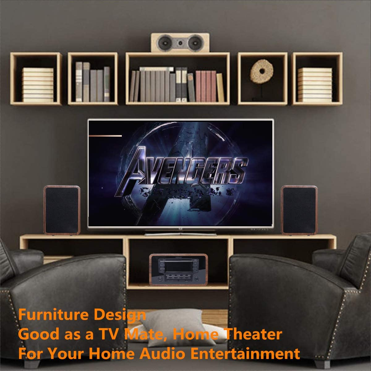 AUX,Remote Control KEiiD Stereo Shelf System Powered with Bookshelf Speakers RMS 2X 25W for Home Audio Entertainment with CD Player and Bluetooth FM Radio SD USB
