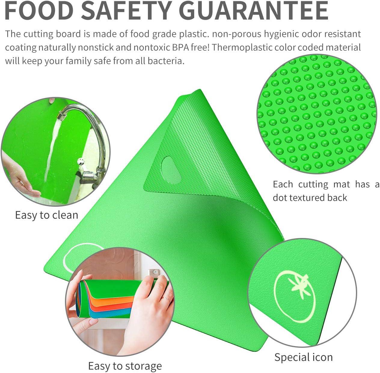 Homealexa Set de 6 Planches /à D/écouper Flexibles en Plastique avec Code Couleur Planche Cuisine Alimentaires PP-Mat/ériel Antid/érapant Antibact/érien Adapt/ées au Lave-Vaisselle