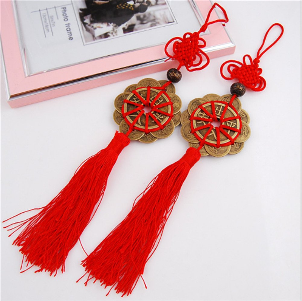 Interesting® 1 Pair Feng Shui Fortune Coin Tassel RED Hanging Peace Chinese Knot Car Decoration