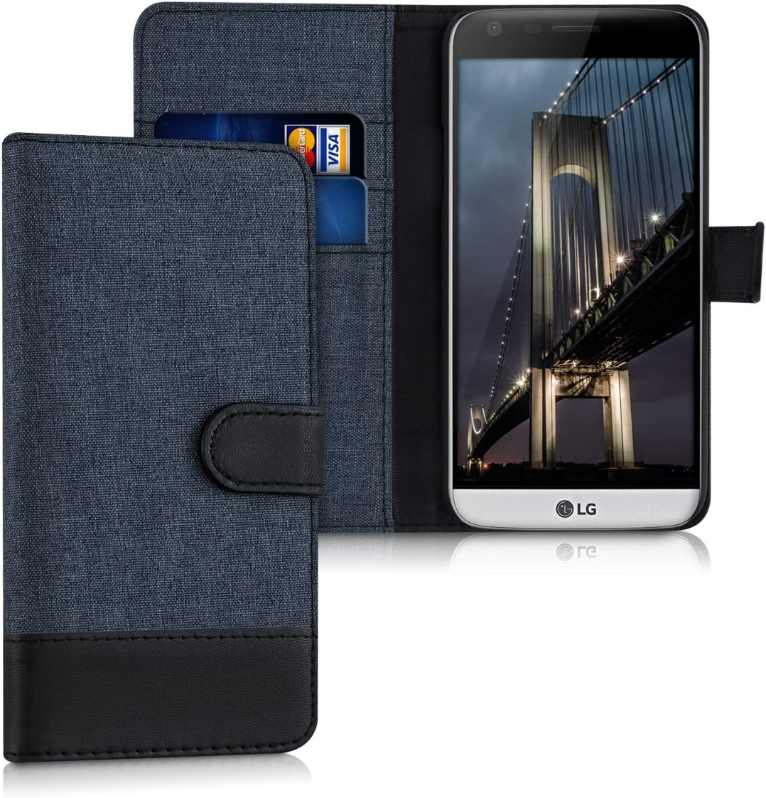 kwmobile Wallet Case for LG G5 / G5 SE - Fabric and PU Leather Flip Cover with Card Slots and Stand - Dark Blue/Black
