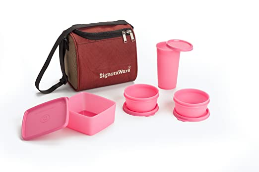 Signoraware Best Lunch Box with Bag, Pink Lunch Boxes